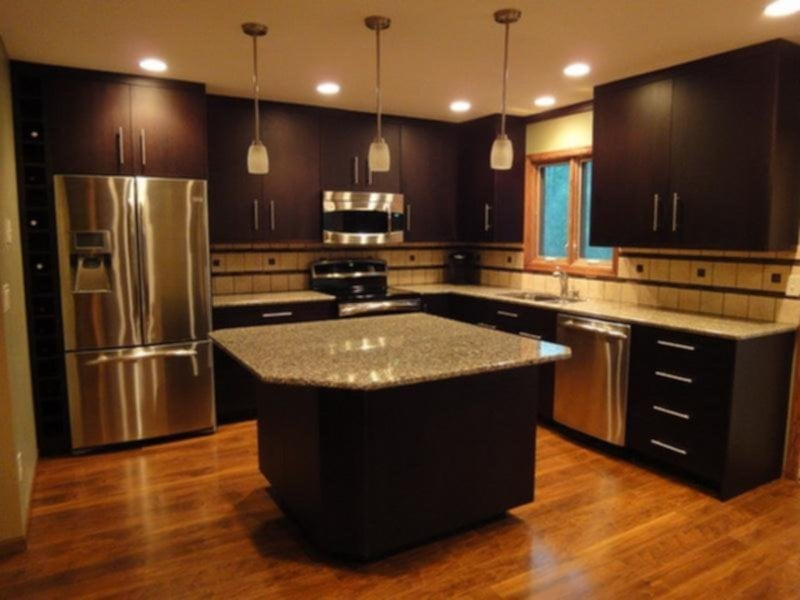 Black Brown Kitchen Idea Home Decoration World Ideas For Backsplash Ideas With Dark Cabinets