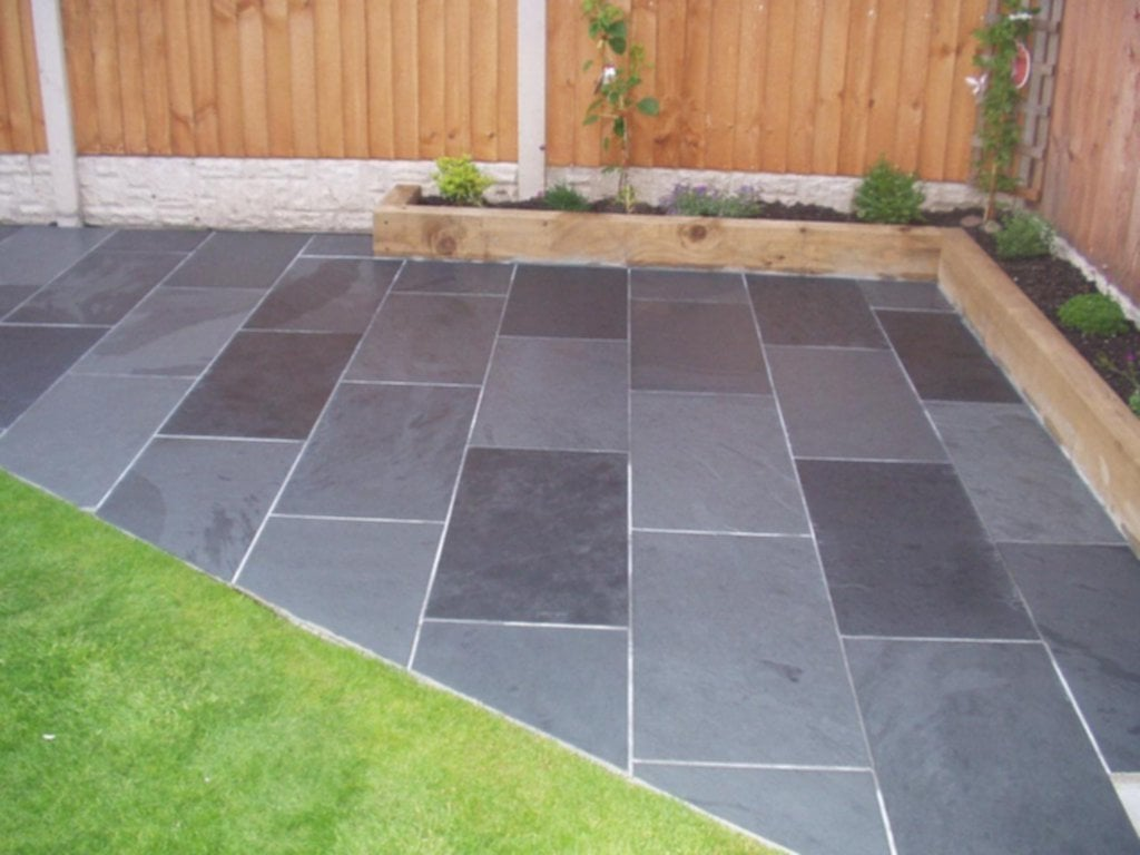 Black Grey Slate Paving Patio Garden Tile Slab Ideas