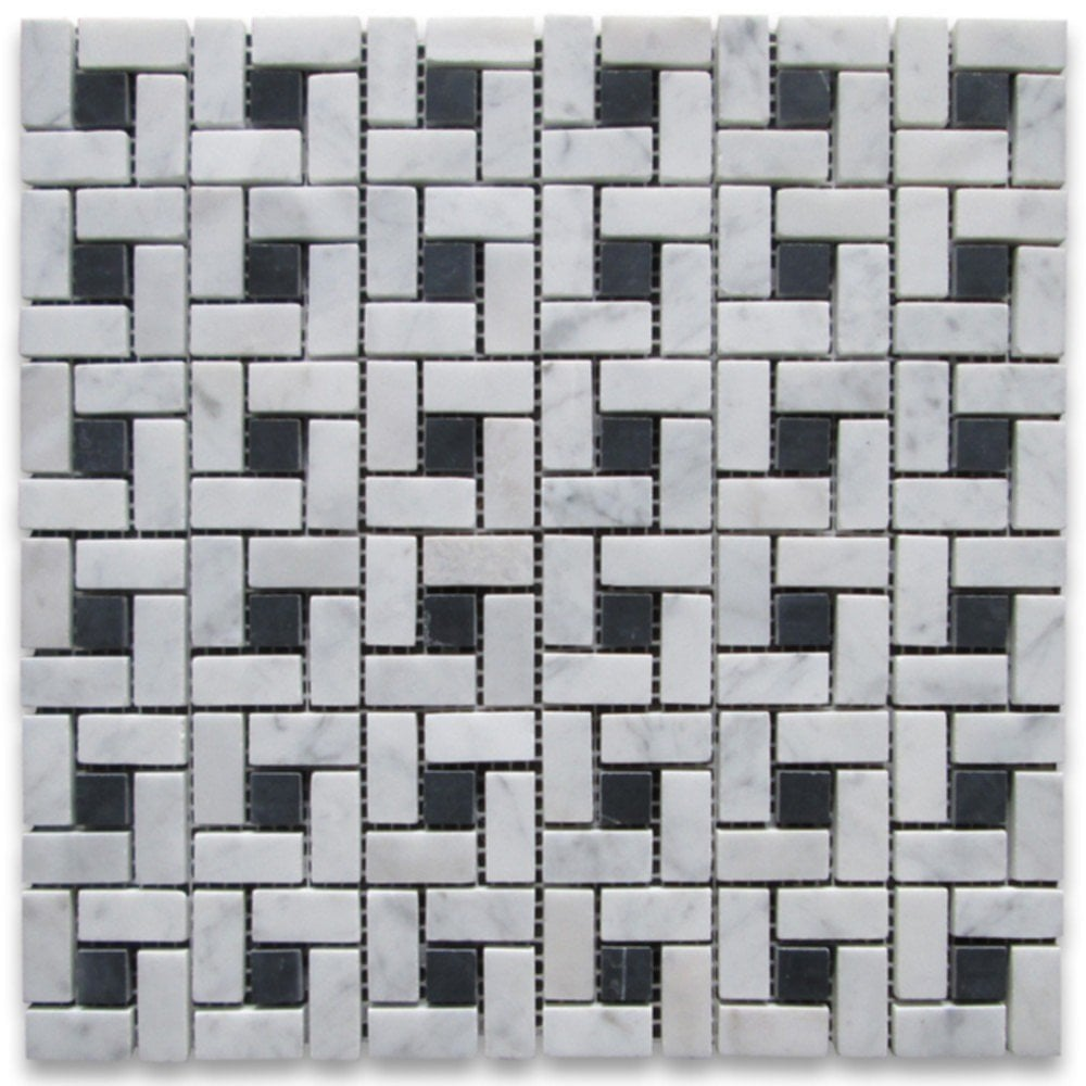 Carrara Mosaic Floor Tile Image Tile Flooring Design Idea Ideas For Backsplash Ideas With Dark Cabinets