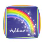 Colorful Rainbow Stripe Kid Square Pouf Zazzle Latest Square Pouf Ideas