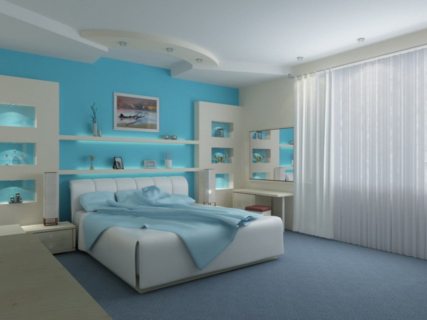Elegant Aqua Blue Bedroom Ideas