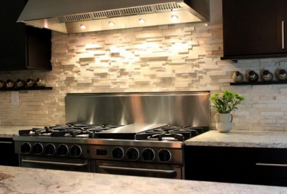 Stacked Stone Backsplash Combination Modern Kitchen Interior Ruchi Design Ideas For Backsplash Ideas With Dark Cabinets