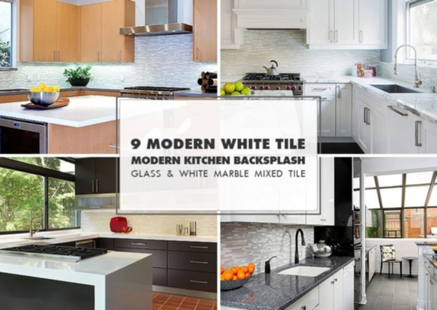 9 White Modern Backsplash Idea Glass Marble Mosaic Tile Wonderful Glass Backsplash Ideas