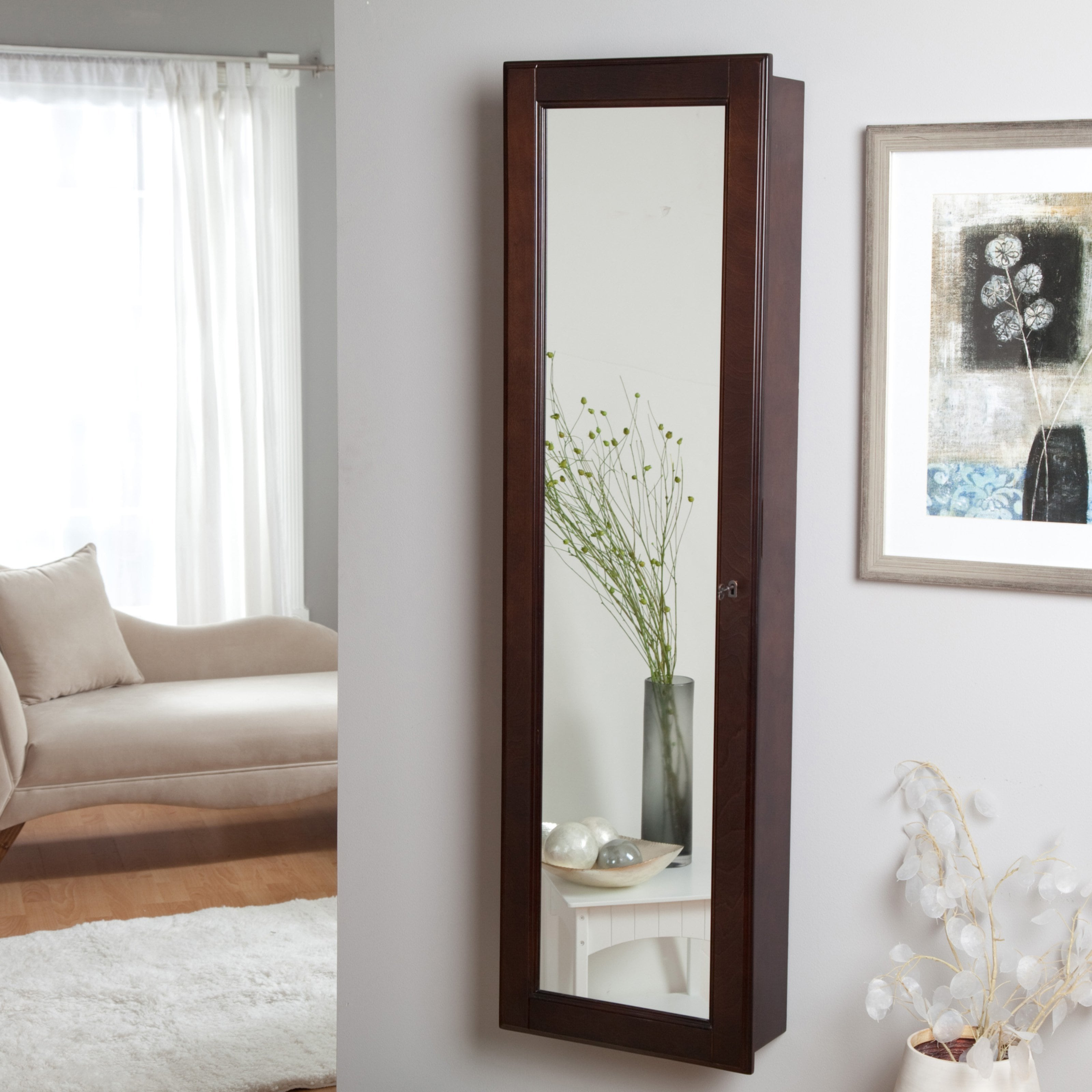 With Full Length Wall Mirror Storage Clam