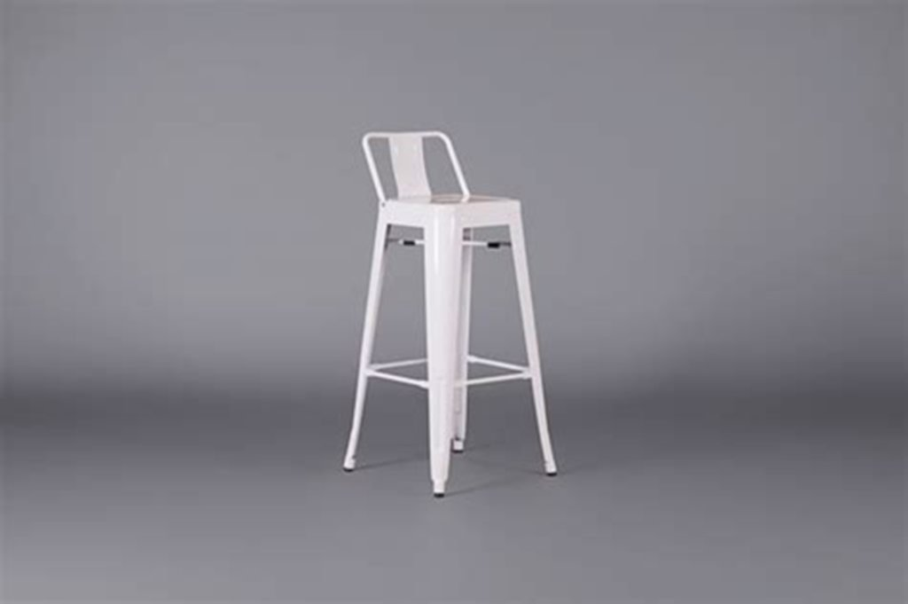 White Metal Counter Stool With Back